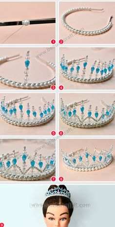 Tutorials on making pearl and crystal beaded crown for girls . Bead Jewellery, Wire Jewelry, Jewelry Crafts, Beaded Jewelry, Jewelery, Jewelry Making Tutorials, Jewelry Making Beads, Handmade Hair Accessories, Handmade Jewelry