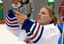 Goalie Kim St-Pierre is an amazing athlete and a wonderful person to work with