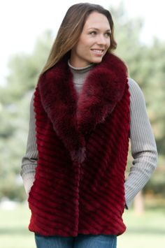 Vixen Sheared Beaver Fur Vest with Fox Fur Collar #17777