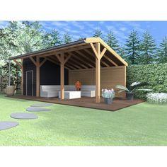 Mooie kapschuur Jumbo met berging. De afmetingen zijn ca 750x330 waarvan de berging 250x330 is. Al het douglashout is fijnbezaagd, maar kan tegen een meerprijs geschaafd geleverd worden. Bouwtekeningen op aanvraag beschikbaar. Backyard Projects, Outdoor Projects, Backyard Patio, Patio Design, House Design, Garden Design, Barbacoa Jardin, Outdoor Spaces, Outdoor Living