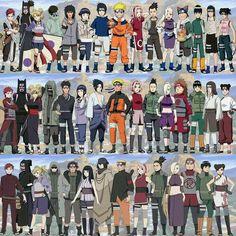 Gaara Kanguro Temari Shino Kiba Hinata Sasuke Naruto Sakura Shikamaru Ino Choji RockLee Neji TenTen