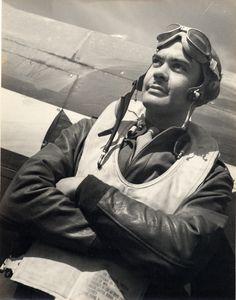Benjamin O. Davis, Jr., wearing flight gear as a Tuskegee Airman : 2 black-and-white photoprints.
