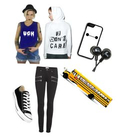 """Ugh field trip"" by darknesssinmymind ❤ liked on Polyvore featuring LAUREN MOSHI, Paige Denim and Converse"