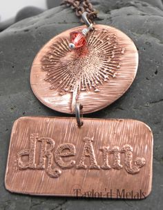 Copper  etched  dream  dandelion  hand made  gift by TaylordMetals, $38.00