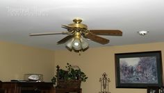 Giving an Outdated Ceiling Fan a Little Face Lift! - After spending months trying to find a new ceiling fan for our family room, I finally just threw up my hand Painting Ceiling Fans, Painted Furniture, Diy Furniture, Painting Light Fixtures, Ceiling Fan Makeover, Large Glass Jars, Fan Light Kits, Home Repair, Home Projects