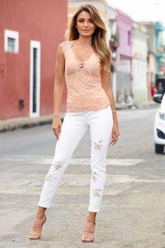 Summer Style | Women's White Flower Pop Ankle Jean by Boston Proper.