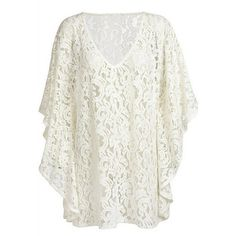Women Sexy Batwing Sleeve Swimwear Cover Up Floral Lace Beach Dress... ($8.79) ❤ liked on Polyvore featuring swimwear, cover-ups, white swimwear, lace beach cover up, sexy cover ups, lace swimwear and sexy swim wear