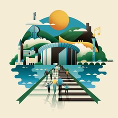 BBC SSO Illustration by Jack Daly. Orchestra, Editorial, Landscape, Geometric, Texture, Depth, Scotland, Perth, Jack Daly