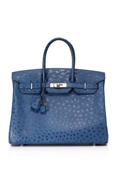 Shop Heritage Auctions Special Collections 35cm Bleu Roi Ostrich Birkin at Moda Operandi