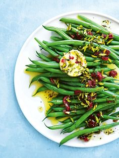green beans with pistachio, orange and cranberry butter