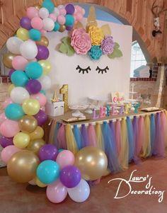 Unicorn Birthday Decorations, Unicorn Themed Birthday Party, 1st Birthday Party For Girls, Birthday Party Decorations, 5th Birthday, Birthday Ideas, Swag Curtains, Unicorn Cupcakes, Pink Tulle