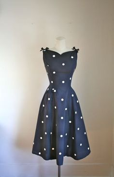 vintage 1950s polkadot dress - STARLET hand painted party dress / XS on Etsy, $28.00