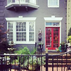 gray house red door - house colors