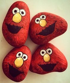 Elmo rocks! Elmo stone painting