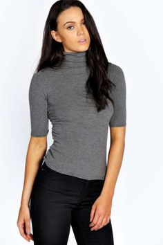 Abbey Turtle Neck Short Sleeve Top at boohoo.com