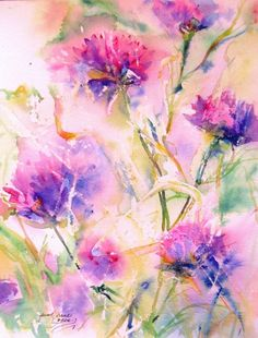 Watercolor Paint   abstract flower Original Watercolor Painting modern contemporary ...: