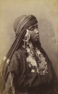 Africa   Bedouin woman with nose ring, photographed in Egypt. ca 1860s   Photo taken by Schier Schoefft.