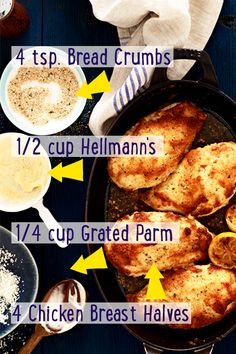 Easy trick. Use Hellmann's Mayonnaise instead of eggs to coat your baked chicken! It's the family secret that keeps our Parmesan Crusted Chicken recipe juicier and crispier. Mmmm...