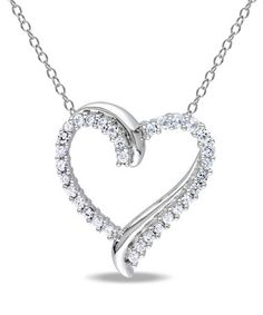 White Sapphire & Sterling Silver Heart Pendant Necklace by Delmar $34.99 Orig. $100.00