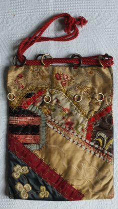 Antique Lyon hand embroidered samplers silk patchwork colorful fancy dress evening masquerade bag purse Carnival bohemian feel