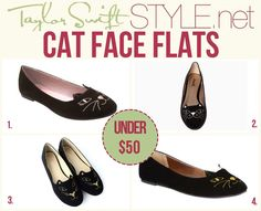 Private Label 'Kitty Vegan Flat Shoes' - $34.20 Daily Look 'Smiling Cat Flats' - $29.99 Chic Wish 'Cat Face Embroidery Ballet Flat Shoes' - $42.42 Delia's 'Meow Loafer' - $22.90