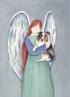 Blue merle sheltie with angel / Lynch signed door watercolorqueen, $12.99