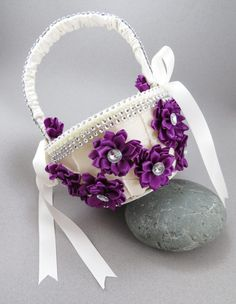 Purple flower girl basket wedding by AngelicasBridal on Etsy