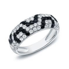 Auriya 14k Gold 1 1/2ct TDW Black and Pave-set Diamond Ring