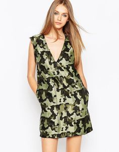Buy it now. ASOS Camo Shift Dress with Raw Edge - Multi. Casual dress by ASOS Collection, Lightweight woven fabric, Shimmer camouflage design, V-plunge neckline, Raw cut edges, Slip-on design, Oversized fit - falls generously over the body, Machine wash, 63% Polyester, 37% Cotton, Our model wears a UK 8/EU 36/US 4 and is 176 cm/5'9� tall. ABOUT ASOS COLLECTION Directional, exciting and diverse, the ASOS Collection makes and breaks the fashion rules. Scouring the globe for inspiration, our…