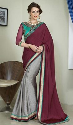 Dazzle the crowd in this gray and maroon color jacquard net half n half sari. It is designed with lace and resham work. #reshamworksarees #embroideredwrksaris #womensaree