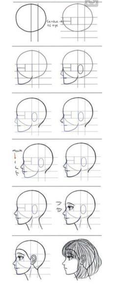Drawing Portraits - Para aqueles que têm dificuldade em desenhar mangá de perfil. - Discover The Secrets Of Drawing Realistic Pencil Portraits.Let Me Show You How You Too Can Draw Realistic Pencil Portraits With My Truly Step-by-Step Guide. Drawing Lessons, Drawing Techniques, Drawing Tips, Drawing Reference, Drawing Sketches, Pencil Drawings, Art Lessons, Painting & Drawing, Drawing Ideas