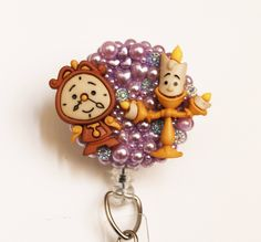 Beauty And The Beast Cogsworth and Lumiere ID Badge Reel - Retractable ID Badge Holder - Zipperedheart by ZipperedHeart on Etsy