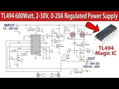 In this video I'll show you how to make a Regulated high current switch mode power supply based on the PWM IC and P-channel power MOSFETS. Electronics Mini Projects, Electronic Circuit Projects, Power Electronics, Electronics Basics, Electrical Projects, Electronic Engineering, Electrical Engineering, Battery Charger Circuit, School