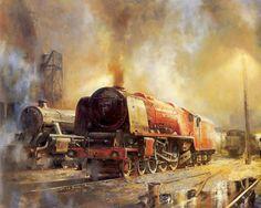 Alan Fearnley, 1942 ~ Retro and Classic Car Steam Art, Steam Railway, Train Art, Train Engines, British Rail, Train Pictures, Train Times, Steam Locomotive, Steam Engine