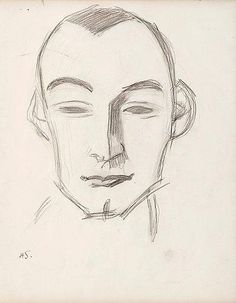 Helene Schjerfbeck (Finnish, Portrait of a man. Drawing, x cm. Fine Art Drawing, Guy Drawing, Drawing Sketches, Art Drawings, Sketching, Helene Schjerfbeck, Doodle Sketch, Sculpture, Caricature