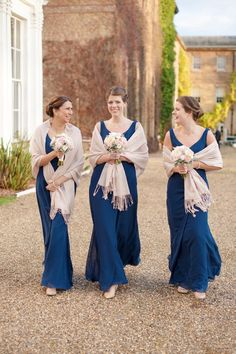 Real Weddings: The bridesmaids wore sweeping long dresses by True Bride at Rosedene Bridal in Bray. Blush pink pashminas, nude heels and pearl jewellery completed their classic look.