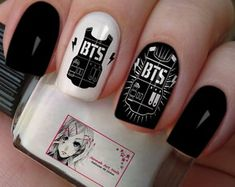 As a BTS ARMY, I feel so happy to share this with you guys and also I'm excited too. So let's go and see amazing BTS Inspired Nailart design. Korean Nail Art, Korean Nails, K Pop Nails, Love Nails, Nail Swag, Cute Nail Art, Easy Nail Art, Army Nails, Band Nails