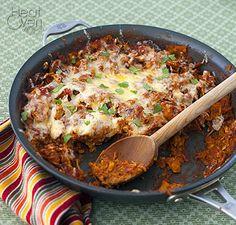 Chicken Skillet Enchiladas ~ Low Carb/No Tortillas!