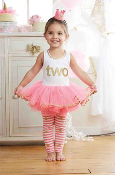 "This toddler and little girls birthday princess legging set is a perfect choice to dress her up on her special day.  This fun birthday set features pink stripe glitter dot leggings and a sparkly tunic with attached pink princess tutu.  Age specific appliques with the words ""one"" ""two"" or ""three"" feature on the front depending on size.  Available in sizes 12-18m through 3T and perfect for first, second or third birthdays."