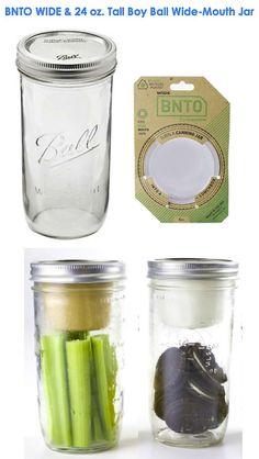 GONNA LOVE THIS! — BNTO (Wide) Lunchbox / Snack Box + Ball Mason Jar Bundle — 16 oz. or 24 oz. Tallboy