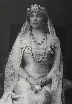 Queen Ena of Spain wearing the Fleur de Lys tiara. She wore the tiara throughout her life and never lent it to either of her daughters...