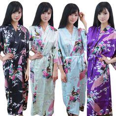 NEW Bridesmaid Peacock Long Kimono Robe Wedding Women Satin Silk Sleepwear-01 #Unbranded #Robe