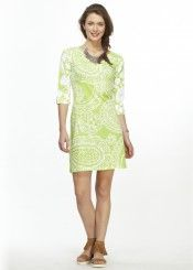 Grace Lime (13041) ~ Classic 3/4 Sleeve Sweet Heart V-Neck Dress Front view