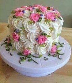Simple Red Velvet Cake Decorating Ideas Pink piped flowers with white swirls and green leaves - small cake Pretty Cakes, Beautiful Cakes, Amazing Cakes, Cake Decorating Techniques, Cake Decorating Tips, Cake Icing, Buttercream Cake, Buttercream Decorating, Buttercream Flowers