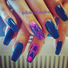 Instagram foto door soto_sandra - #nails #nailart #naildesign #nailpolish #nailaddict #nailporn #nailjunkie #notd #coffinnails #tribalprint @isbeth_esqueda