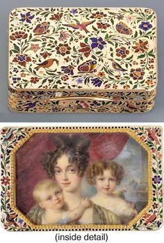 A Continental Enamelled Gold Snuff Box with Watercolor Miniature in a Secret Compartment purportedly depicting Betty de Rothschild and her two eldest children.