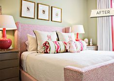 upholstered bed with a winged headboard & footboard the color scheme isn't really my style but love the feel