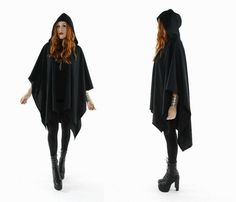SUGAR MOUNTAIN Black Hooded Cape OS by GypsyStardustDesign on Etsy