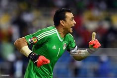 Egypt's goalkeeper Essam El-Hadary celebrates at the end of the penalty shootout of the 2017 Africa Cup of Nations semi-final football match between Burkina Faso and Egypt at the Stade de l'Amitie Sino-Gabonaise in Libreville on February 1, 2017. / AFP / GABRIEL