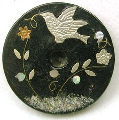 Antique Horn Button w/Silver Bird & Brass, Silver & Shell Floral Inlay